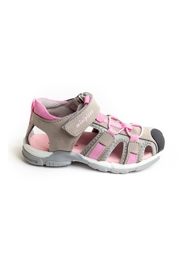 minipicco Minipicco Unısex Gri-Pembe Deri Ortopedik Outdoor Çocuk Sandalet Gri